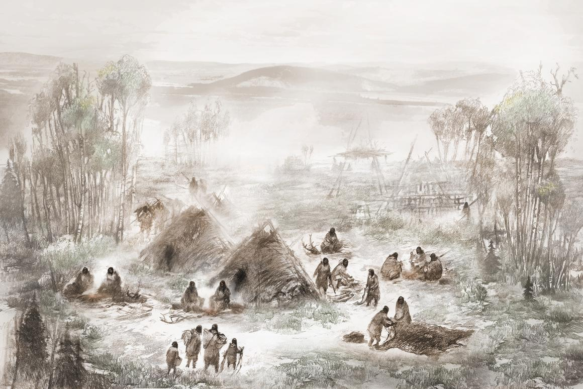 An artist's impression of the camp in central Alaska where the fossil was unearthed