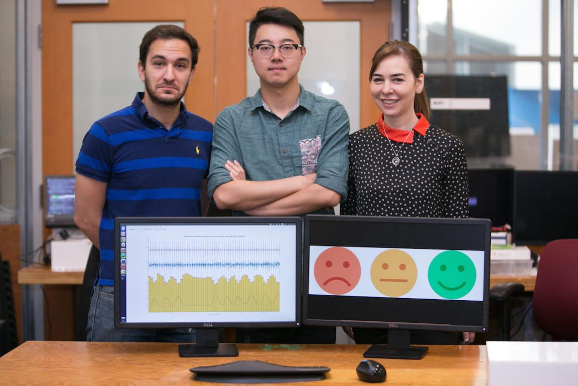 MITCSAILresearchersFadel Adib, Mingmin Zhao, and Dina Katabi have developed EQ-Radio, a device that uses RF signals to read a person's heartbeat and breathing, in order to infer their emotional state