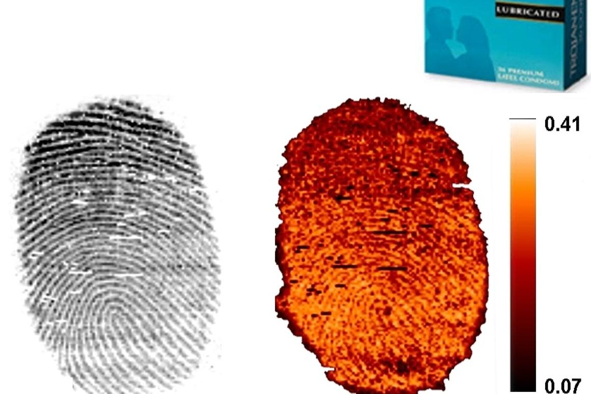 A regular fingerprint (left) and one containing condom lubricant (right) (Image: BMRC)