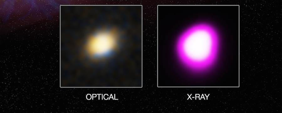 The star's matter heats up as it's dragged into the black hole, giving off a brilliant X-ray burst
