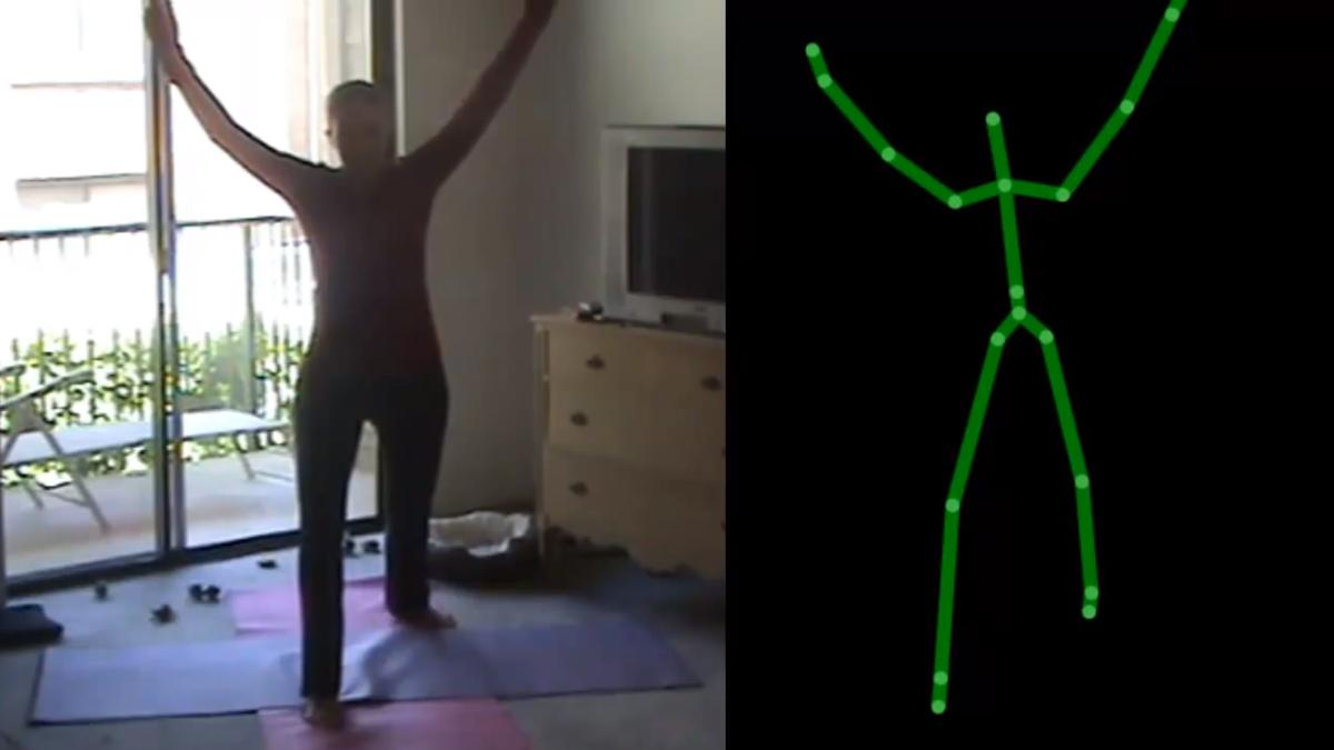 The Eyes-Free Yoga software relies on the Kinect's skeletal tracking capabilities to provide auditory instruction to the visually impaired