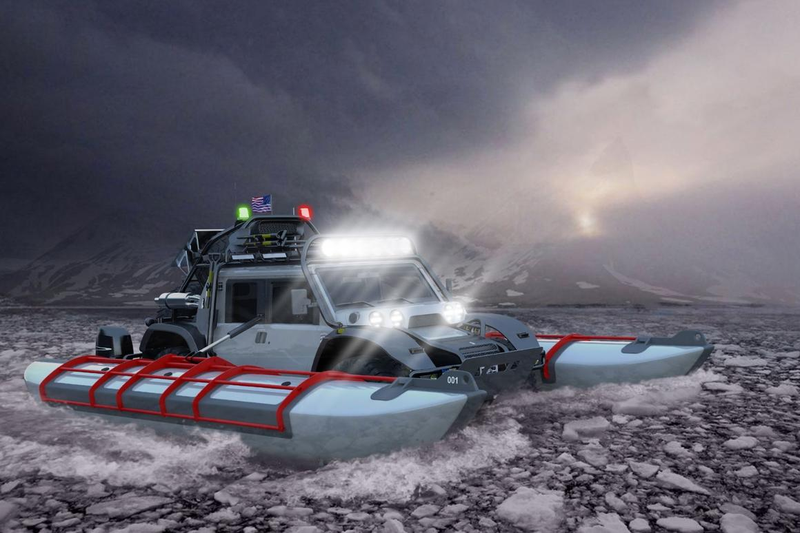 SCG Boot in amphibious mode. The company plans to cross the Bering Strait like this
