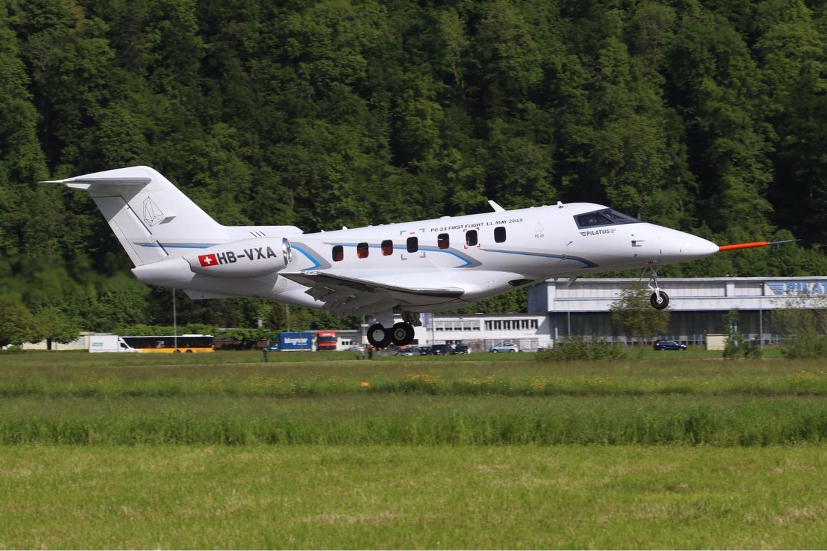The Pilatus PC-24 taking off on its maiden flight