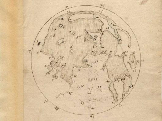 The best of Harriot's two whole-Moon maps shows a wealth of detail. Image copyright Lord Egremont, Petworth House Archives