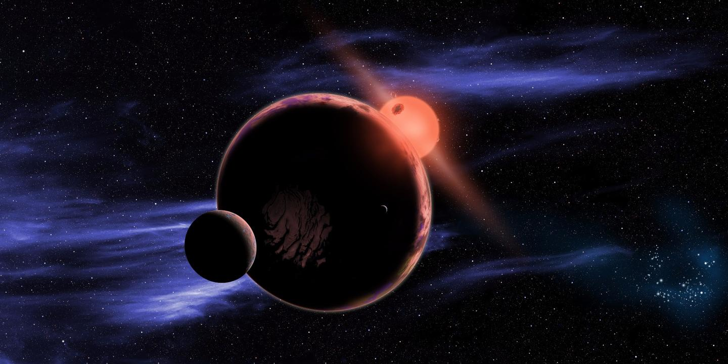 Artist's impression of an Earth-like planet passing in front of a red dwarf star
