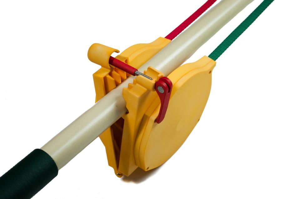 The Boomerope's control lines clamp onto a user-supplied boom pole