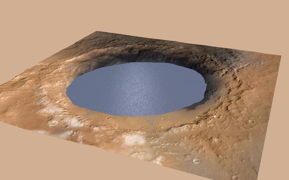 Gale Crater as it may have looked filled with water 3.8 billion years ago