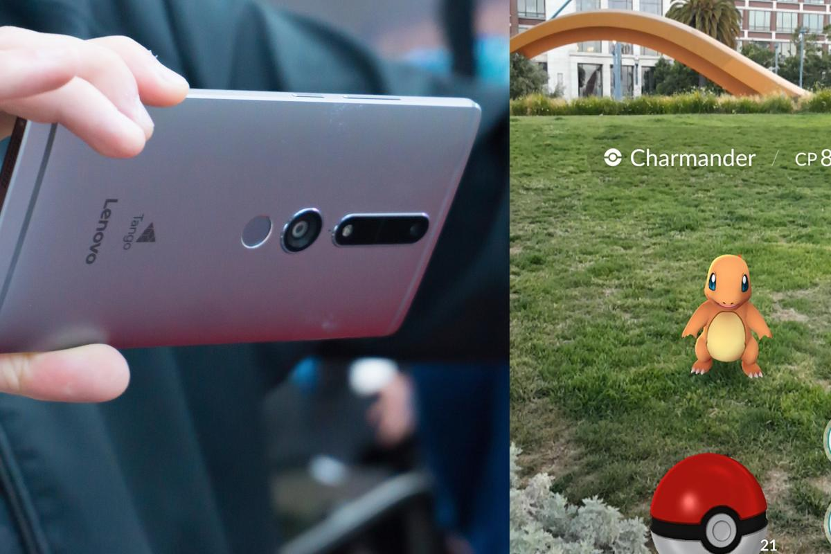 Nothing has been announced, but the potential marriage between the AR-focused Lenovo Phab2 Pro (left) and the world-beating AR gaming sensation Pokémon Go could be a mainstream AR match for the ages