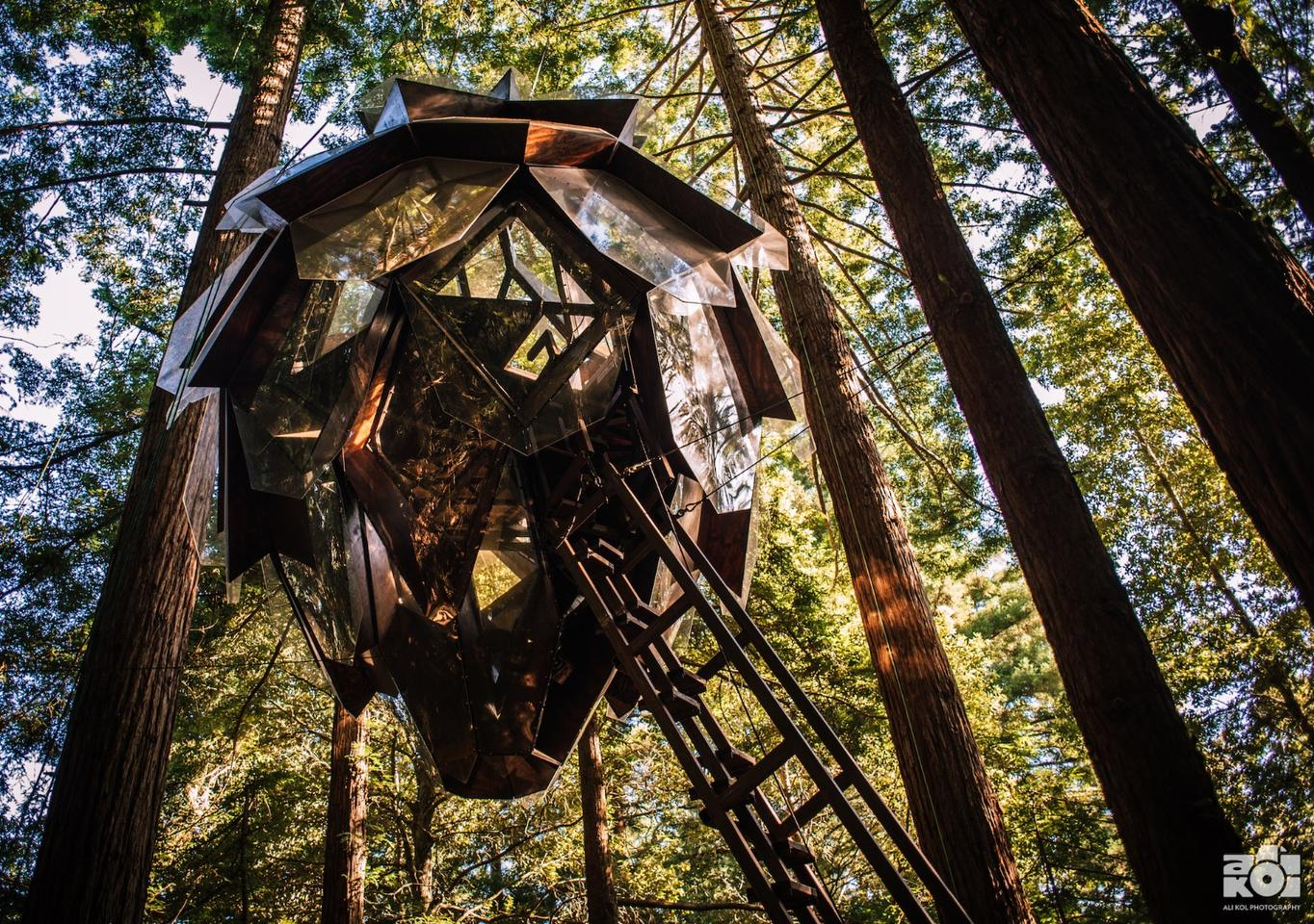 ThePinecone Treehouse is attached to the trees at a height ofaround 60 ft (15 m) above the ground