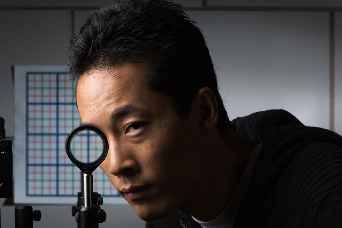 University of Rochester researchers have developed a simple four-lens cloaking system that works across viewing angles of several degrees (Photo: University of Rochester)