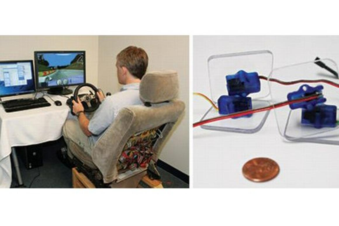 Researchers from Yale's School of Engineering have installed some teeny motors inside a driver's seat to provide physical stimulus to advise of the approach of other vehicles.
