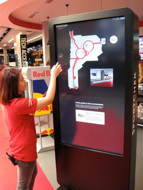 The interactive wayfinder, that uses maps and images to guide customers to different sections of the store