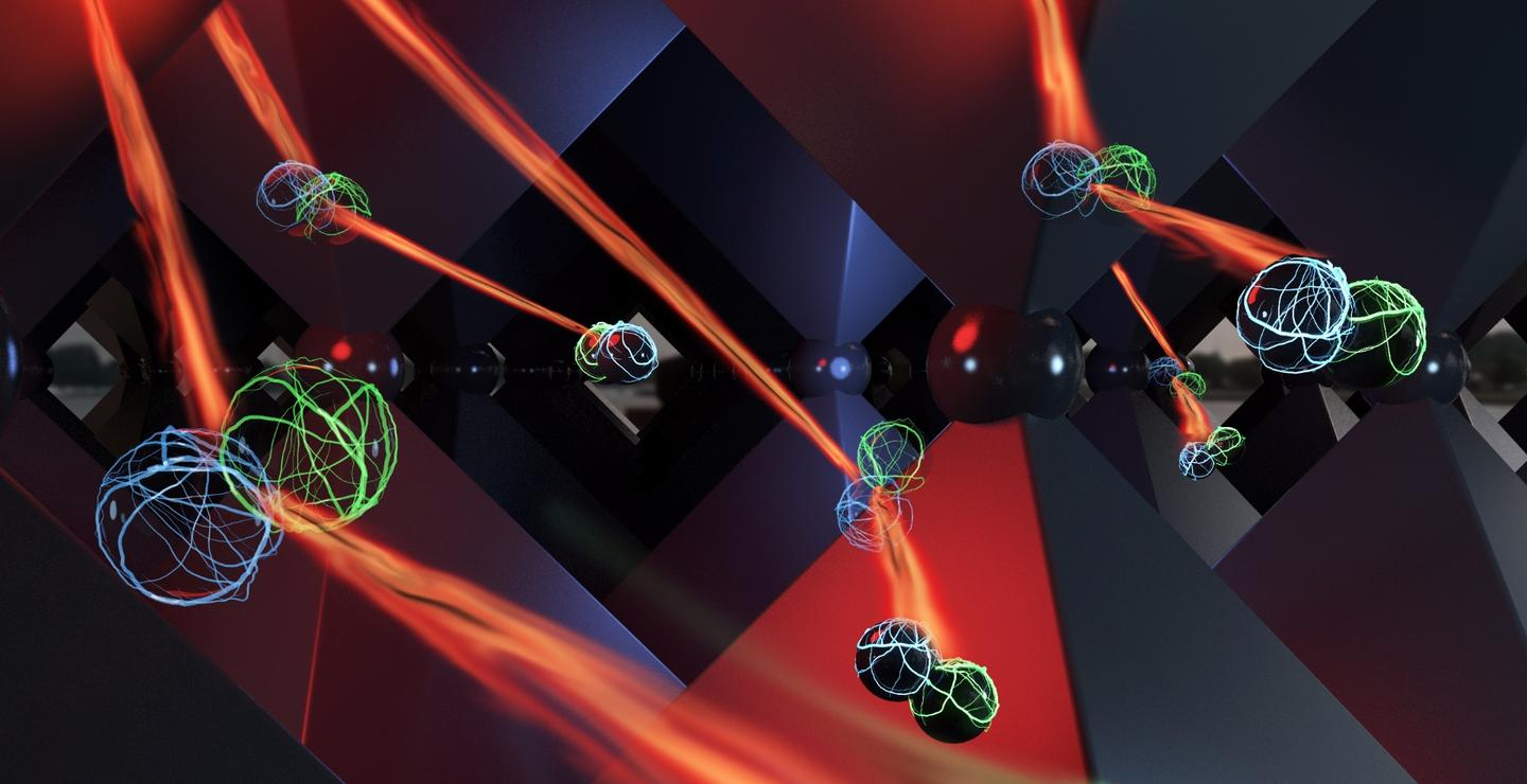 An artist's depiction of what photon recycling looks like inside the crystalline structure of perovskite