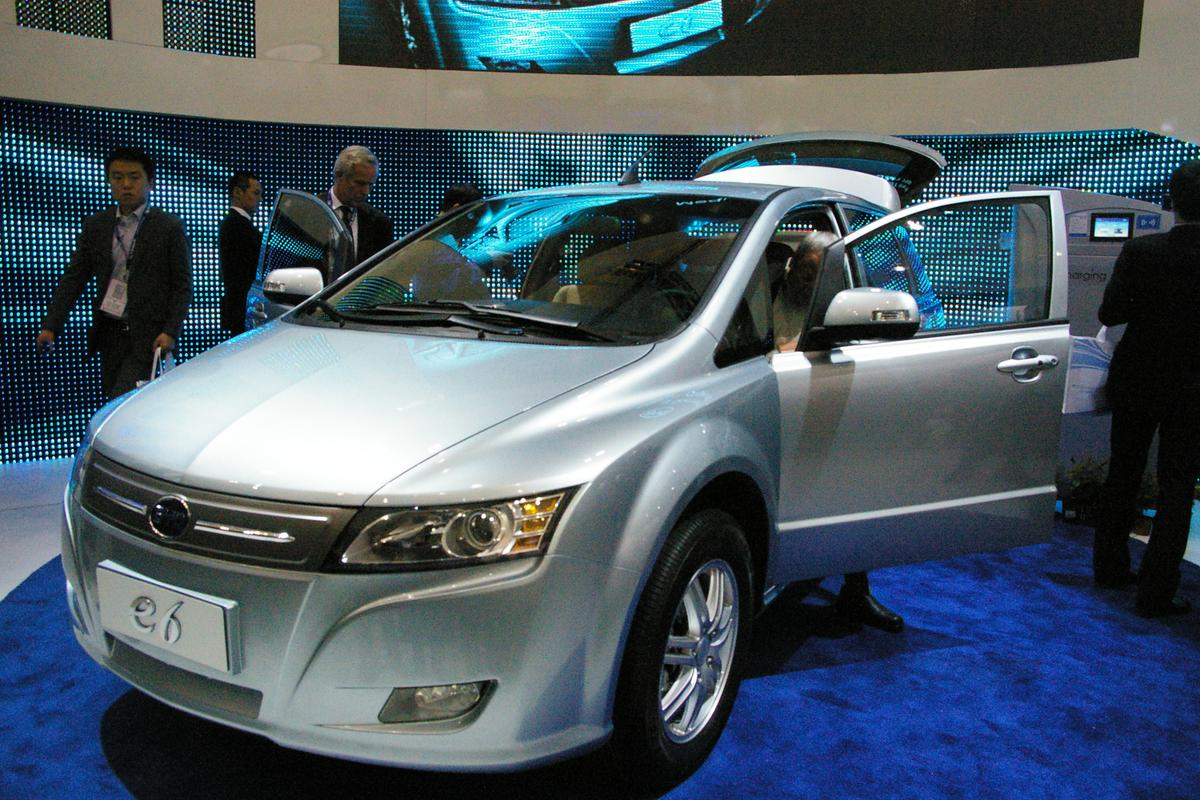 The pure-electric BYD e6, at the 2010 Detroit Auto Show