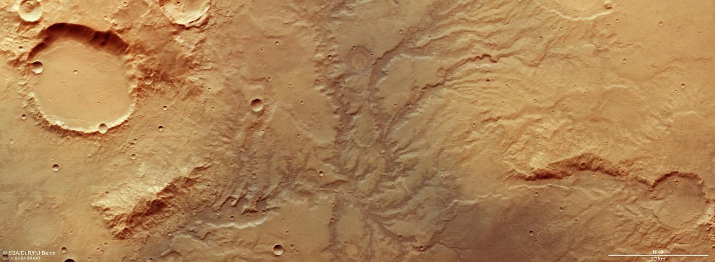 The ancient riverbeds are clear in this image snapped by the Mars Express orbiter