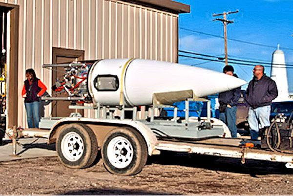 The Masten Xaero ready for transport to the launch site (Photo: Masten Space Systems)
