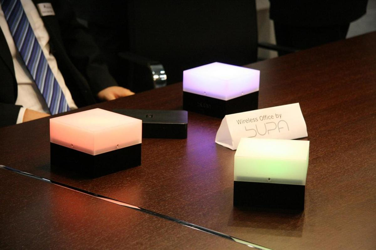 Fraunhofer's cordless SUPA lamps are powered by a circuit board mounted beneath the tabletop
