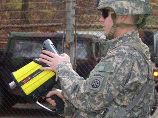 The HazMatID Ranger handheld chemical identifier with detachable PDA