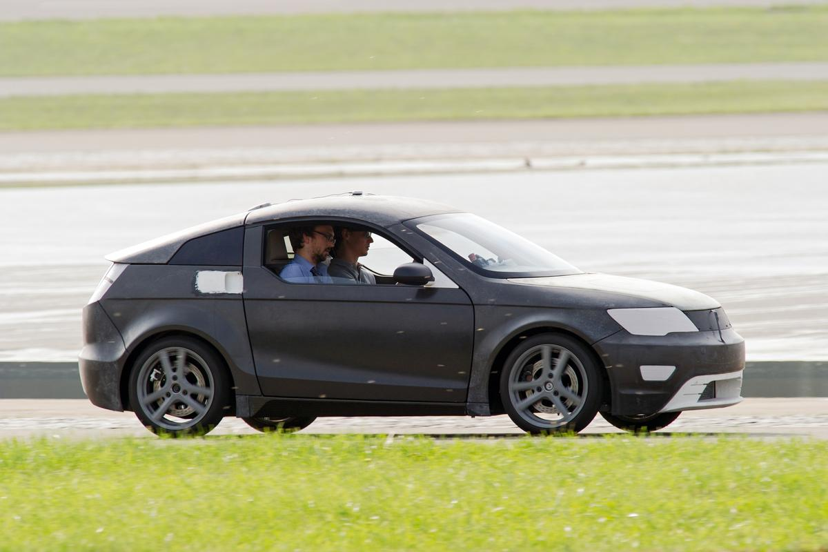 The Visio.M on the test track, earlier this year