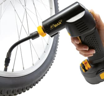The Airgun can reportedly fill an average city bike tire to 58 psi (4 bar) in one minute