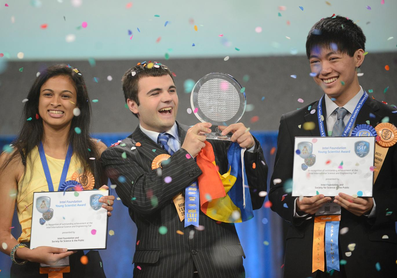Gordon E. Moore Award winner Ionut Budisteanu (center), with Intel Foundation Young Scientist Award winners Eesha Khare and Henry Lin