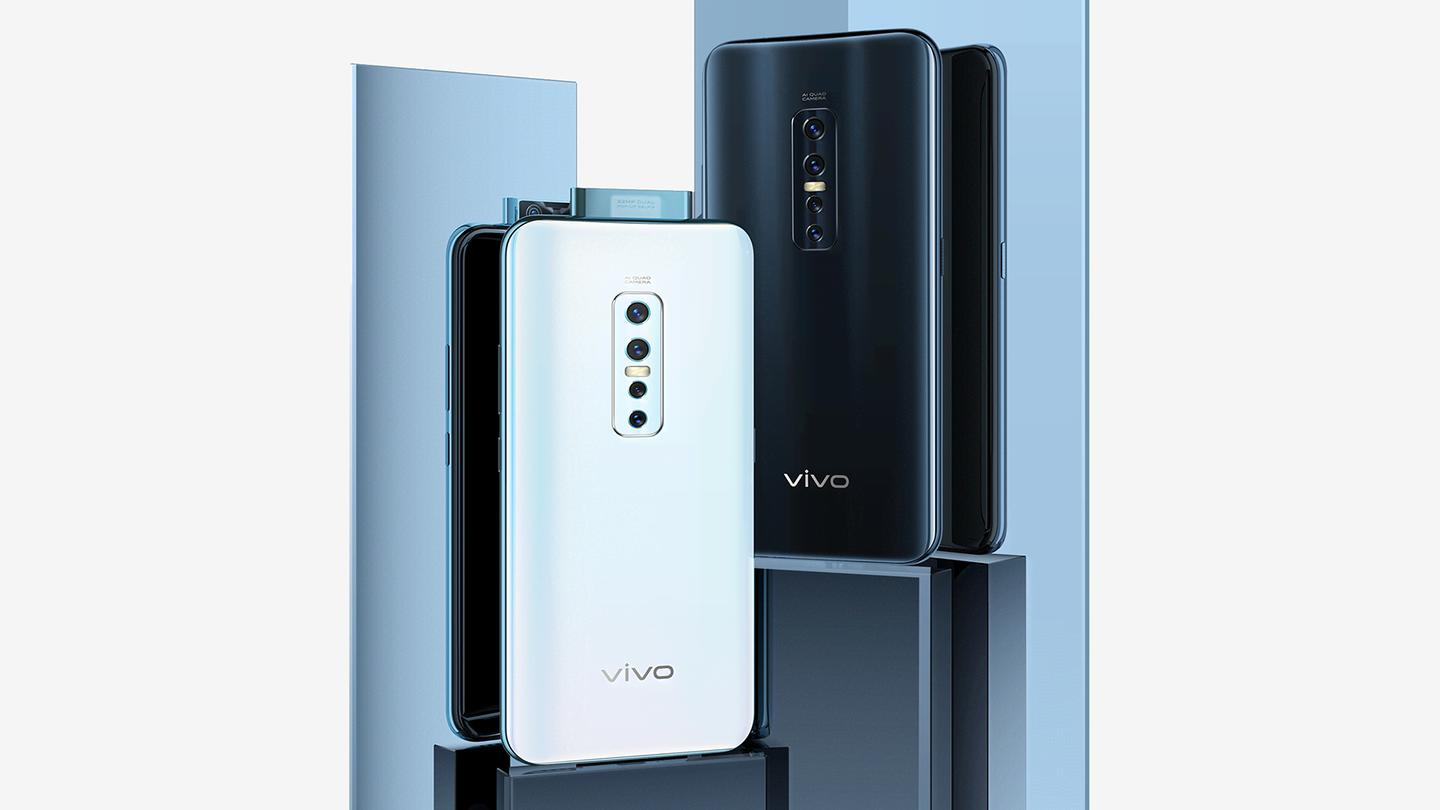 The Vivo V17 Pro features a quad lens camera unit around back, as well as a dual lens pop-up camera facing front