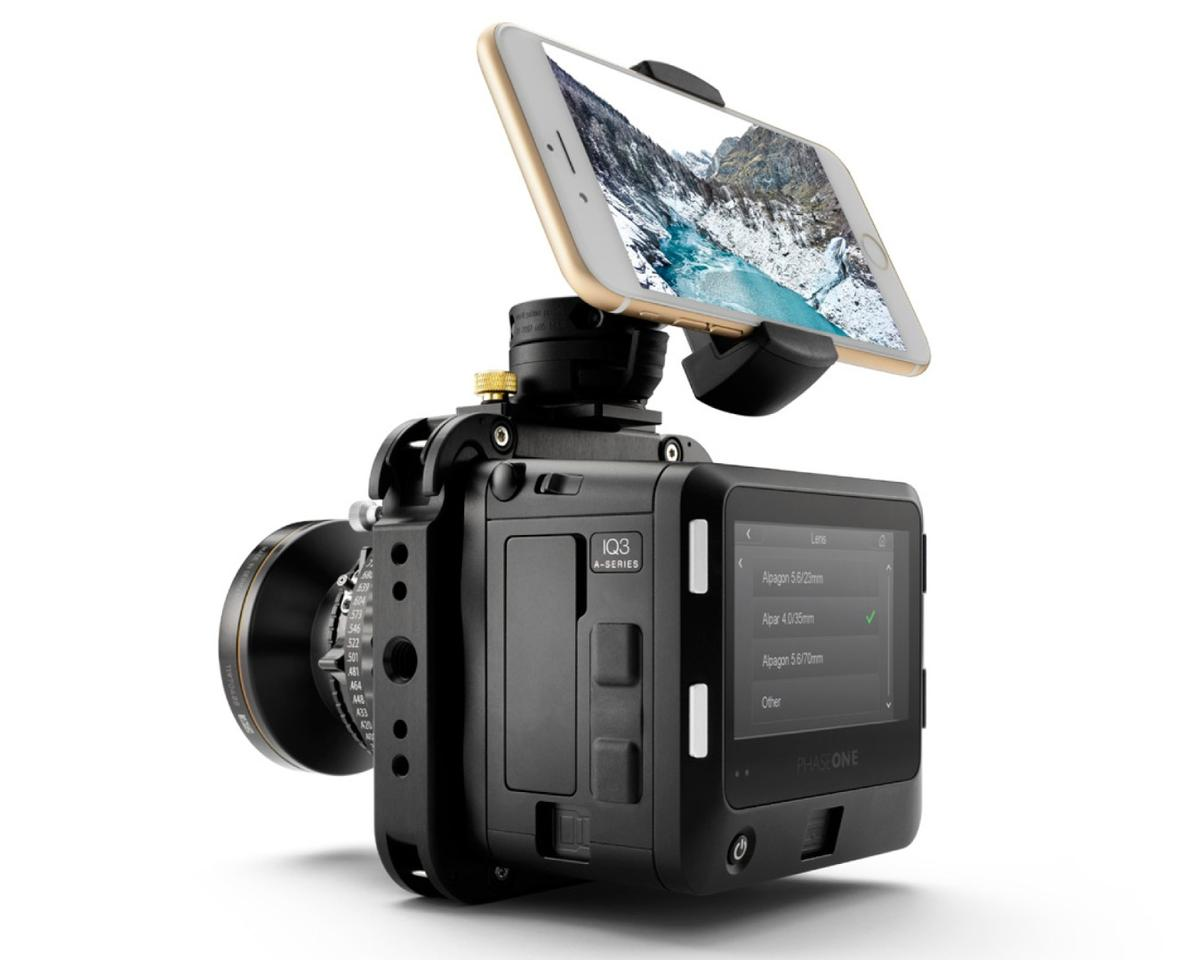 The Phase One A-series IQ3 100MP camera system comes with an ALPA smart device holder