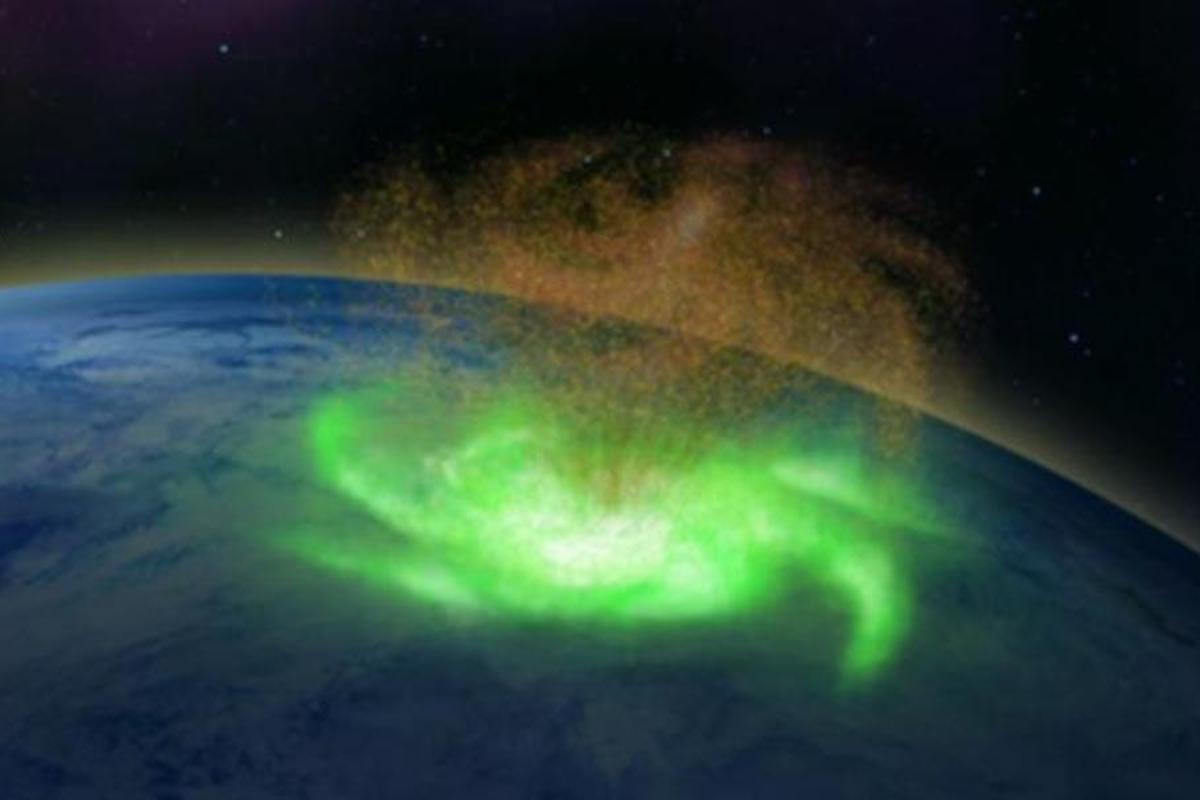 An artist's illustration of the space plasma hurricane