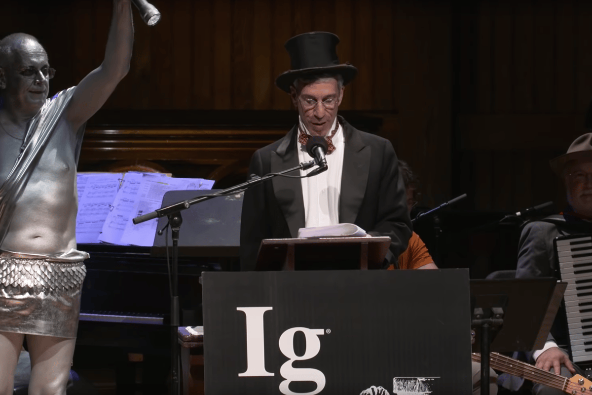 Marc Abrahams, originator and emcee of the annual Ig Nobel Prize celebration, under the spotlight at the 2019 ceremony