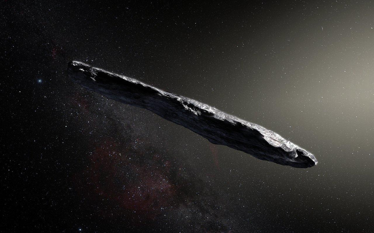 Artist's impression of the first interstellar asteroid, `Oumuamua
