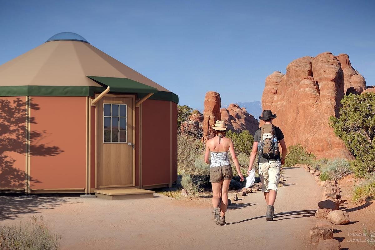 Freedom Yurt-Cabins are delivered in kit form, and the firm states they can be assembled by a couple of people in a weekend