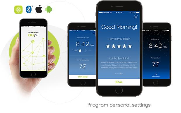 The nuyu Sleep System mobile app is compatible with iOS and Android