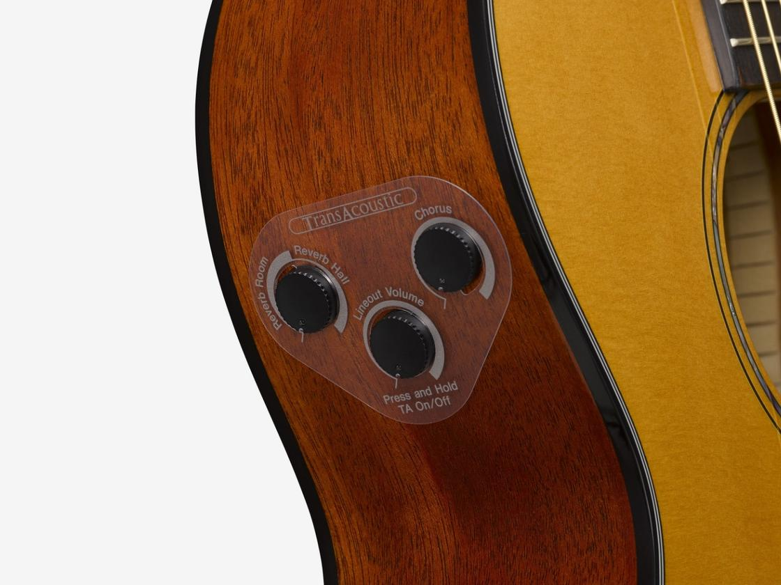 The TransAcoustic range of guitars feature three buttons to control the onboard effects