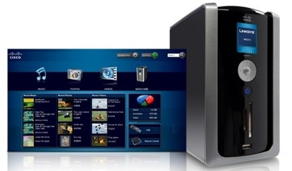 The Cisco Linksys Media Hub comes with a 500Gb hard drive which can be upgraded to one terabyte and allows you to store, organise and share all of your photos, movies and music at home - or anywhere in the world