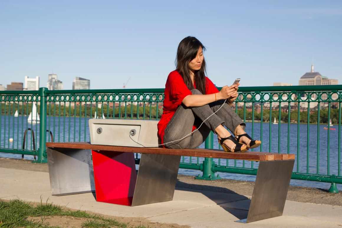 The Soofa bench is the creation of Changing Environments, an MIT Media Lab spin-off company (Photo: Soofa)