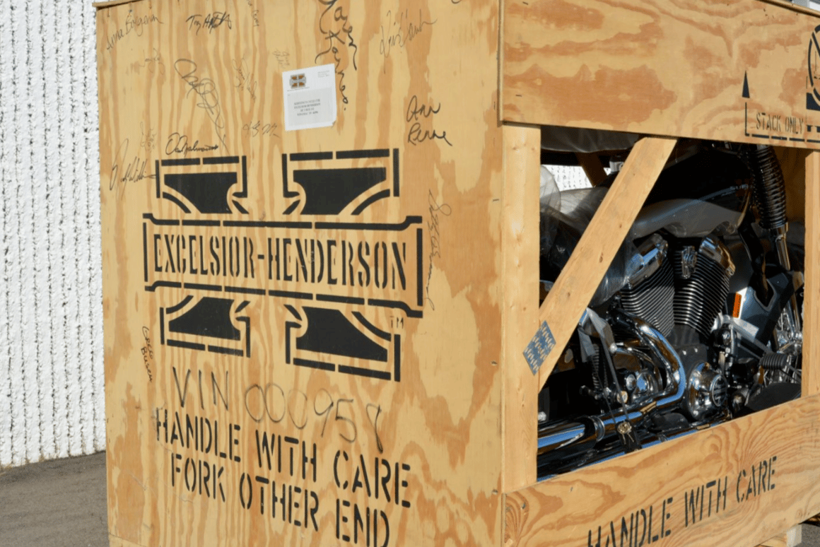 A crated 1999 Excelsior-Henderson Super X