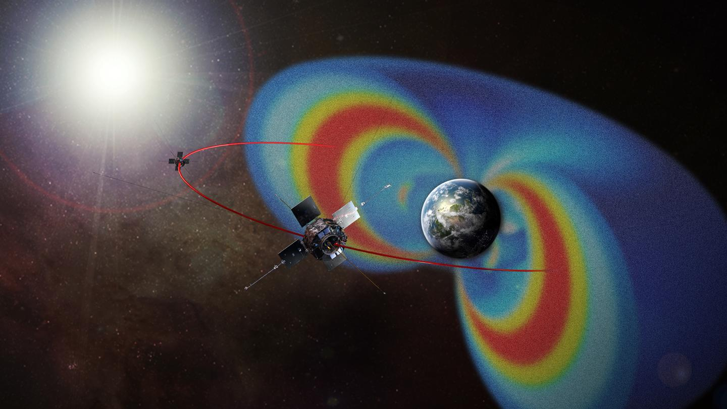 An artist's rendering of the Van Allen Probes, showing their path through the radiation belts surrounding Earth (Image: NASA)