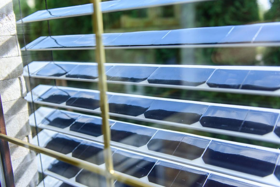 Each SolarGap slat is equipped with an array of solar panels