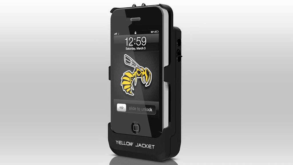 The Yellow Jacket combines an iPhone case and a 650 kV stun gun