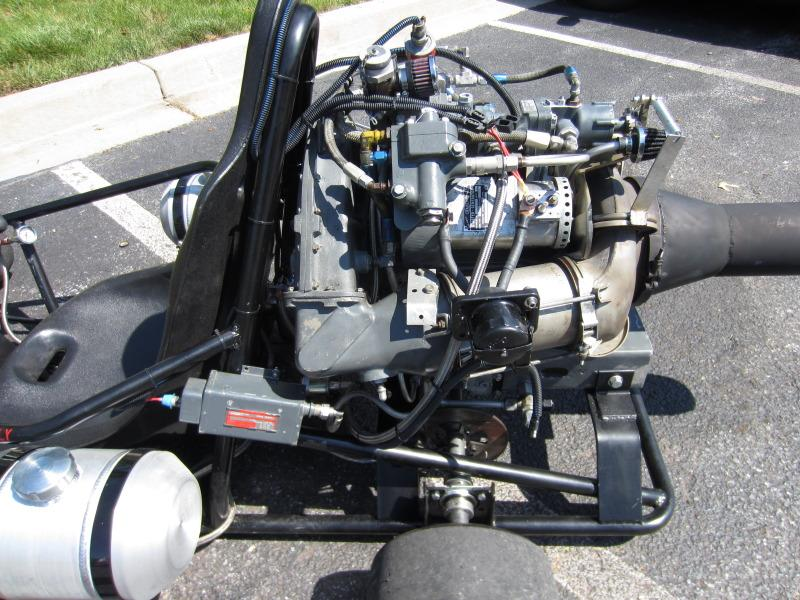 The kart's Boeing 502-7 gas turbine engine