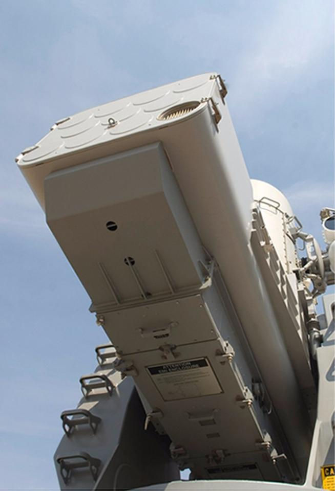 The Raytheon SeaRAM is loaded with 11 missiles