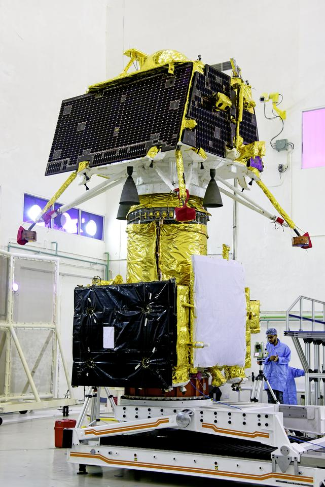 The Vikram lander pictured stacked on top of the Chandrayaan-2 orbiter prior to launch