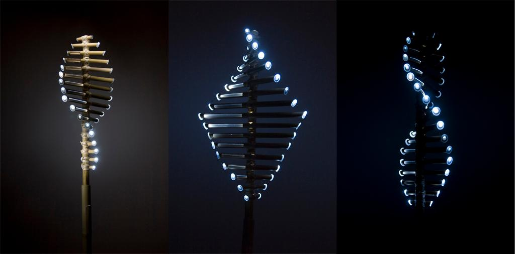 At the tip of each bamboo blades is an LED module that lights up when the vertical turbine catches the wind