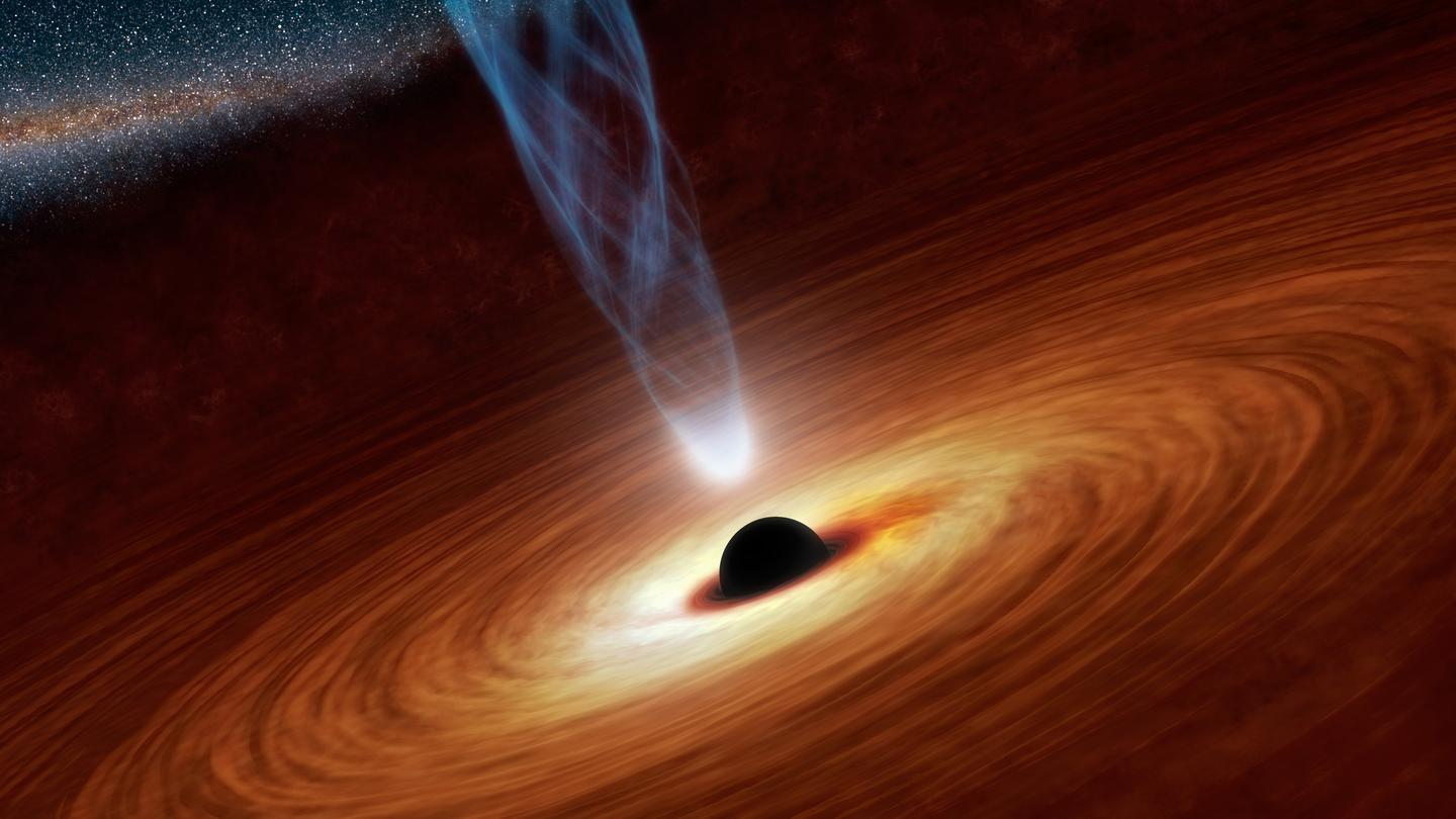 Emission of fluorescence x-rays from iron atoms in the accretion disk of a supermassive black hole (Photo: NASA/JPL)