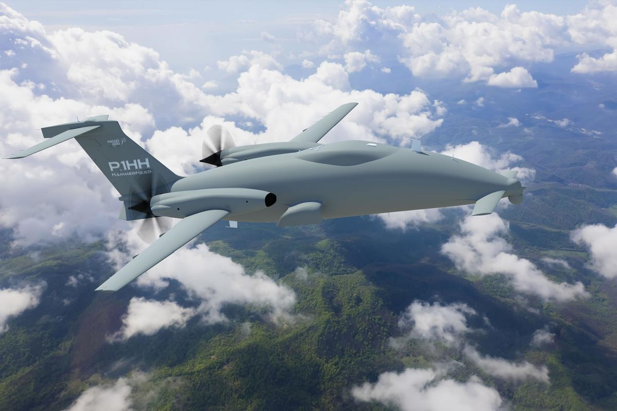 Artist's concept of the HammerHead UAV on a mission (Photo: Piaggio)