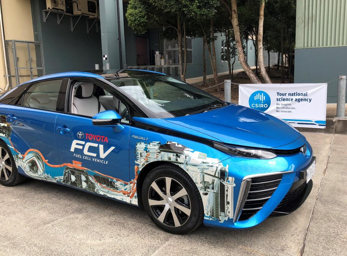 A Toyota Mirai fuel cell vehicle, ready to be fueled with CSIRO-produced hydrogen