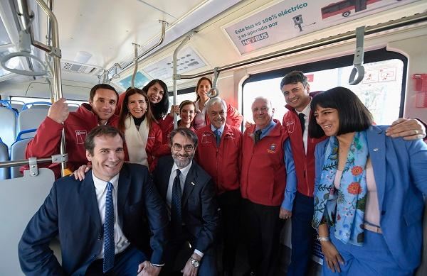 Chile's Sebastián Piñera (fourth from the right) and government officials aboard a BYD electric bus in Santiago