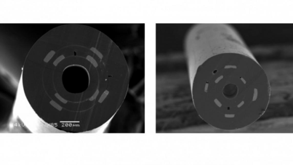 SEM micrographs of the fiber show the uniform arrangement of the cross-section structure from the macroscopic preform (left) to the microscopic fiber (right)