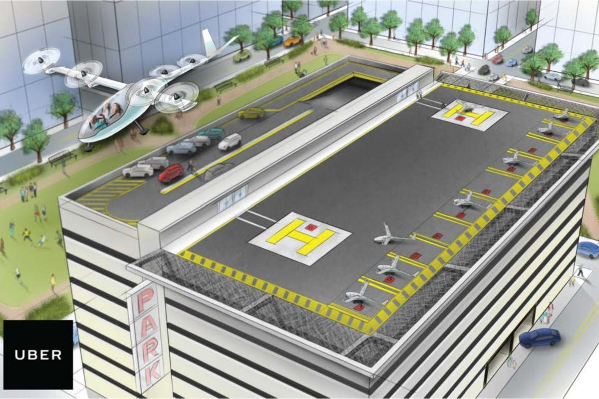 Uber Elevate could seeair taxis land on vertiports built into the top of urban parking garages
