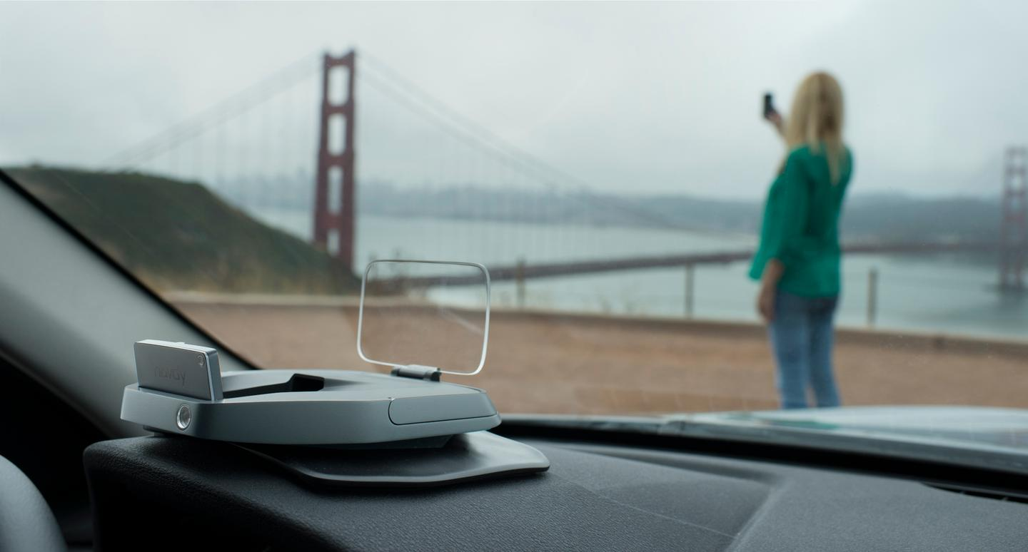 The Navdy prototype heads-up display (HUD) can also take calls, stream music, and show navigation